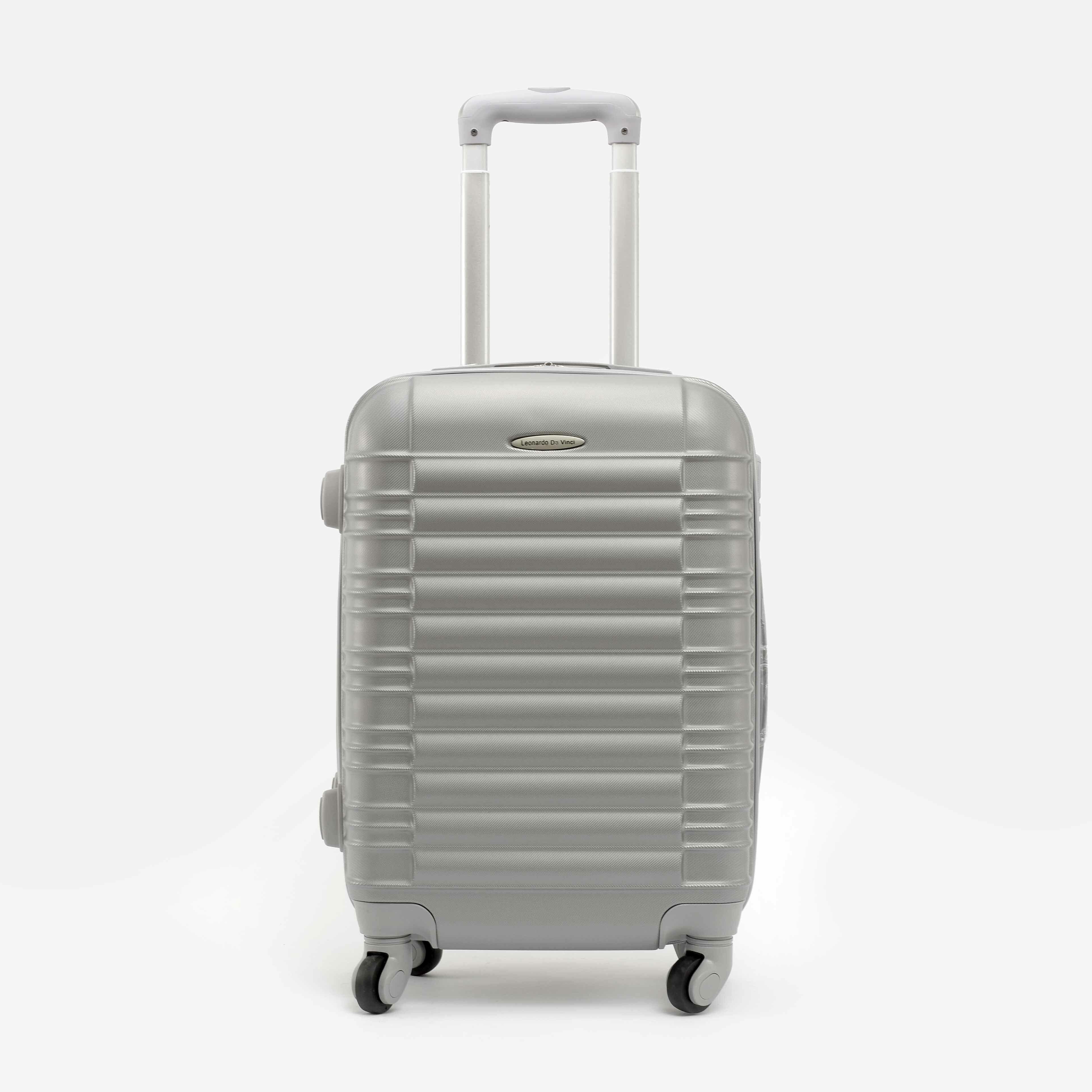 Leonardo Da Vinci ezüstszínű Kemény Kabin Bőrönd (4 Kerekű) (55 cm ... 1a781beb88